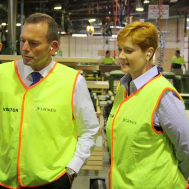 Marise and Tony Abbott on the factory floor at Corinthian Doors in St Marys