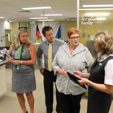 Marise visiting the Department of Human Services' Nambucca Heads Service Centre with Cowper MP, Luke Hartsuyker