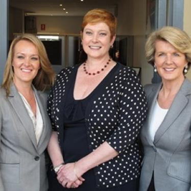 Marise outside her Penrith office with new Lindsay MP Fiona Scott and the Hon Julie Bishop MP