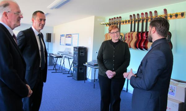 Senator for Western Sydney Marise Payne inspects one of the new music rooms with General Manager of PARED John McMahon; Wollemi College Deputy Headmaster Andreas Engesser and Head of Music Mark Ranftl.