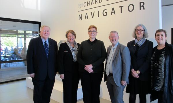 Chairman of Penrith Performing & Visual Arts, Peter Anderson AO; Penrith City Council Deputy Mayor, Tricia Hitchen; Senator for Western Sydney, Marise Payne; Penrith City Council Mayor, John Thain; Penrith Regional Gallery Director Dr Lee-Anne Hall and P