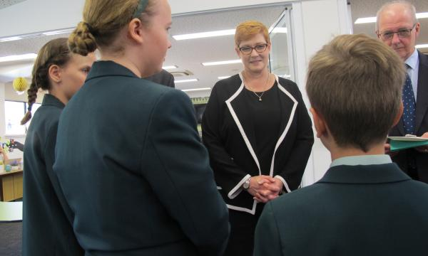 Liberal Senator for Western Sydney, Marise Payne has a chat to primary school children at Norwest Christian College in Riverstone